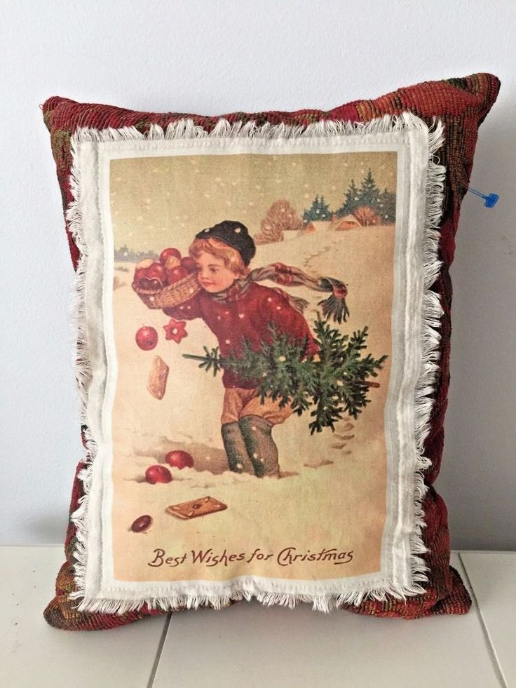 Vintage Boy & Tree ~ Victorian ~ Best Wishes for Christmas Decorative Pillow #Unbranded