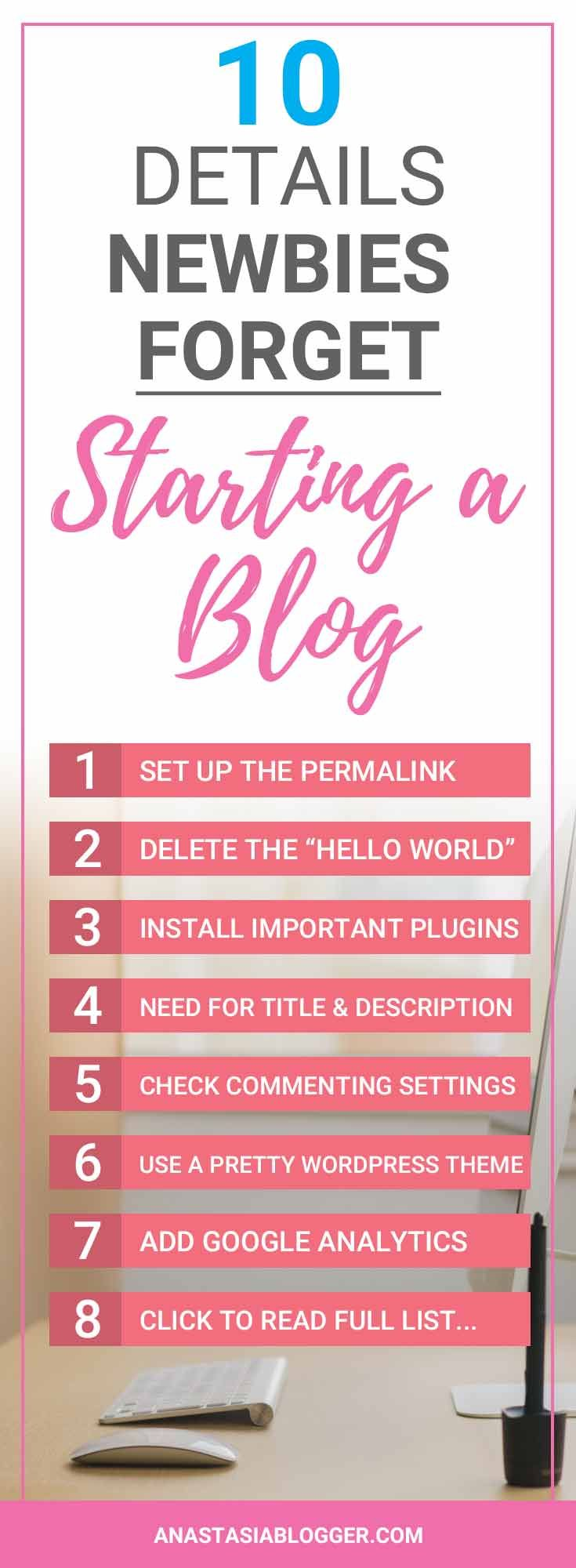 Need a checklist for starting a blog? Step-by-step guide will teach you how to start a blog and avoid the common mistakes made by new bloggers. Check on AnastasiaBlogger.com! #blogging #bloggingtips