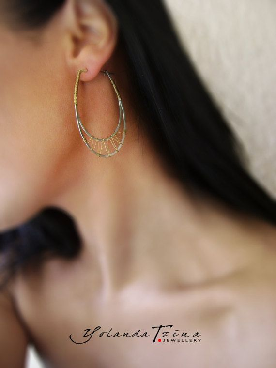 925 Silver earrings woven with brass wires by YolandaTzina - Jewellery on Etsy