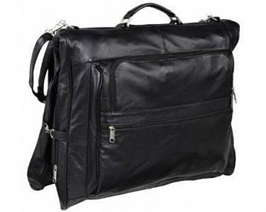 AmeriLeather Leather Three-Suit Garment Bag - Black