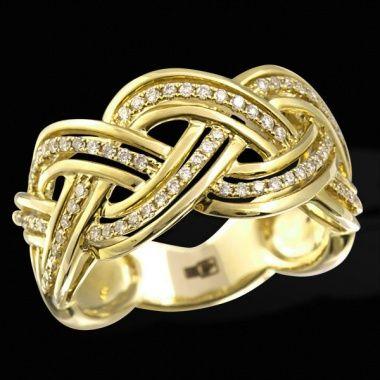 Плетеное золотое кольцо с бриллиантами ED R 12768 YG