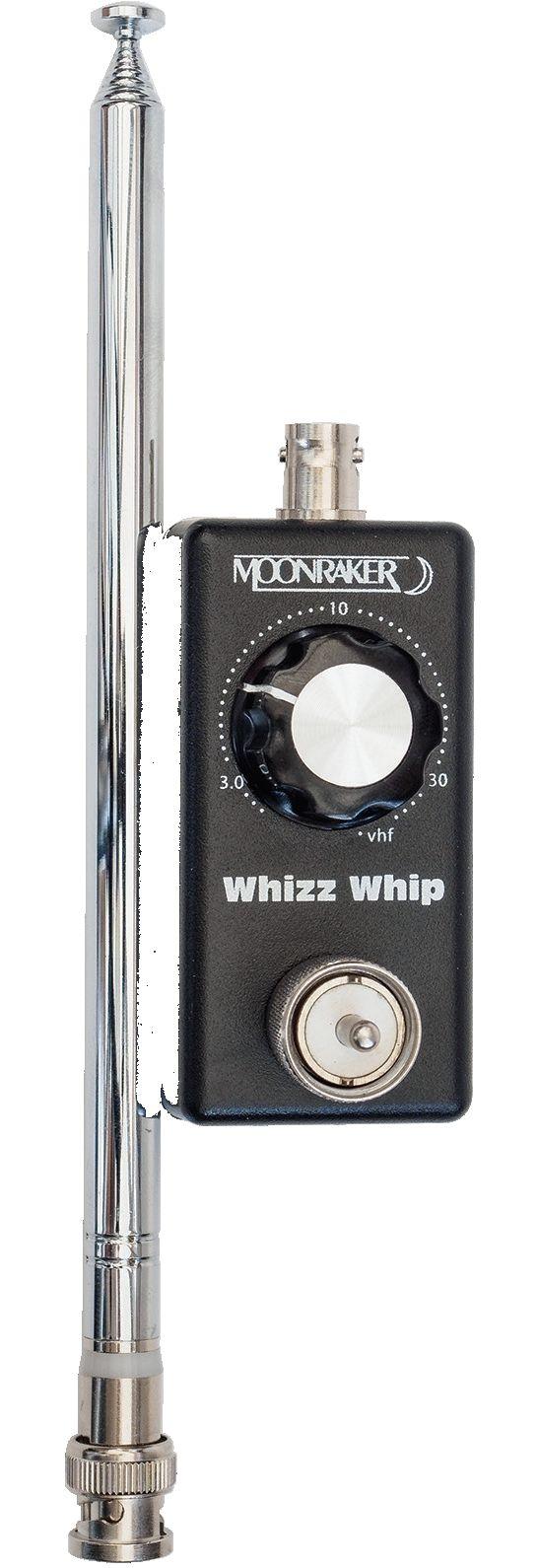 Die Moonraker Whizz Whip QRP ist eine echte mini QRP Antenne, abstimmbar für Frequenzen von 80m bis 70cm Band und max. 10 Watt Sendeleistung. Sie ist aber auch eine ideale Kurzwellen Empfangsantenne für Weltempfänger, Funkscanner, Breitbandempfänger, etc.Sendeseitig  für 3,5 bis 450 MHz und max. 10 WattEmpfangsseitig  für 60 kHz bis 500 MHz - Abstimmung durch Einstellen des besten Ergebnisses (S-Meter bzw. Hörergebnis)Geliefert wird die Moonraker Whizz Whipp QRP mit einer BNC...