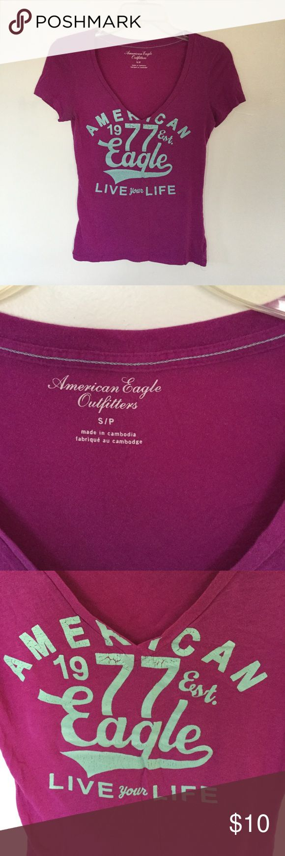 American Eagle Purple Tee Super cute American eagle purple tee with light blue script. Gently used, size small.  IF THIS ISNT SOLD BY 1/12/17 IT WILL BE DONATED, ACCEPTING MOST OFFERS AND I BUNDLE!  REDUCED 1/7/17 American Eagle Outfitters Tops Tees - Short Sleeve