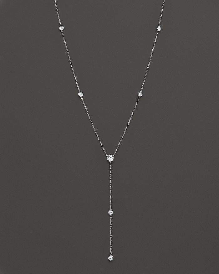 Diamond Station Lariat Necklace in 14K White Gold, 16