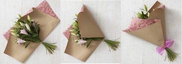 Упаковочная бумага — простой и красивый способ оформить букет
