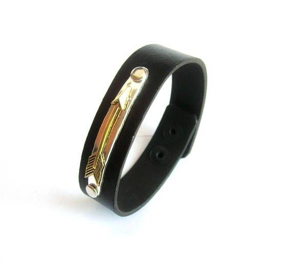 Mens arrow leather bracelet black leather bangle mens