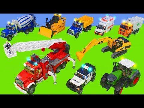 Traktor Vinc Ekskavator Ve Yeni Arabalar Is Makineleri Excavator Fire Truck Toys Youtube Itfaiye Arabasi Traktor Arabalar