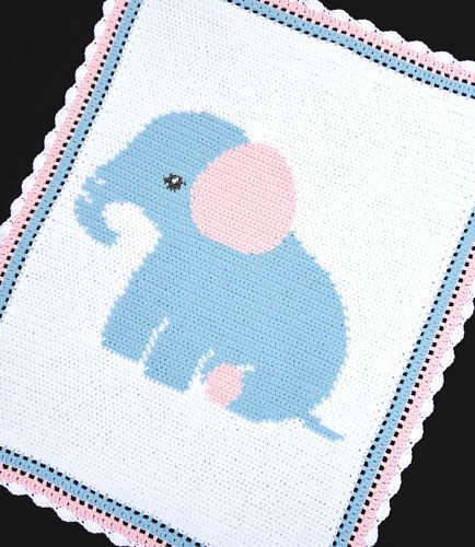 ELEPHANT Baby Afghan Graph Crochet Pattern *EASY in Crafts | eBay