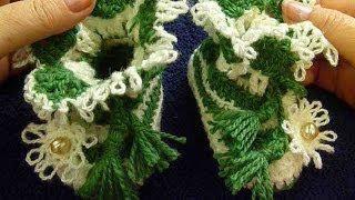 Пинетки теплые для новорожденного малыша, связанные крючком/ Crochet Baby's Booties.