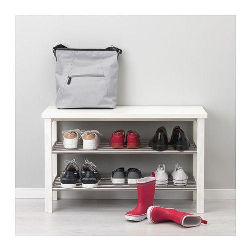 TJUSIG Bench with shoe storage, white white 81x50 cm