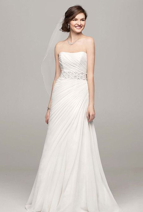 Trendy Crinkle chiffon gown with asymmetrical draping See More David us Bridal Collection Gowns