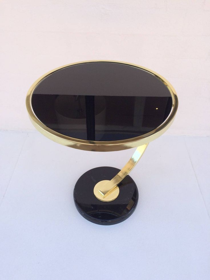Polished Brass and Black Glass Side Table by Milo Baughman for DIA | From a unique collection of antique and modern side tables at https://www.1stdibs.com/furniture/tables/side-tables/
