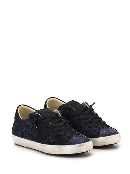 PHILIPPE MODEL PARIS - Sneakers - Donna - Sneaker in pelle lavata stampata con logo lato esterno e suola in gomma vintage. Tacco 25. - BLU\BLACK - € 194.00