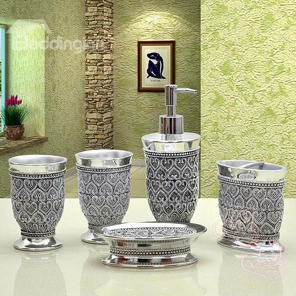 romantic heart design 5 piece resin bath accessories - Bathroom Set For Sale