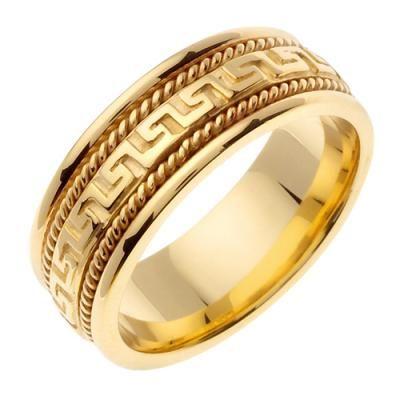 """14k Gold 8mm Greek Key Design Wedding Band"""