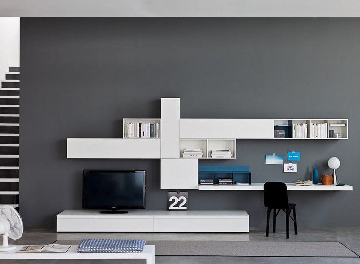 Alterno Multifunctional Wall Unit I By Sangiacomo, Italy In Bianco  Lacquered Ash Effect Melamine And Matt Bianco And Petrolio Lacquer.