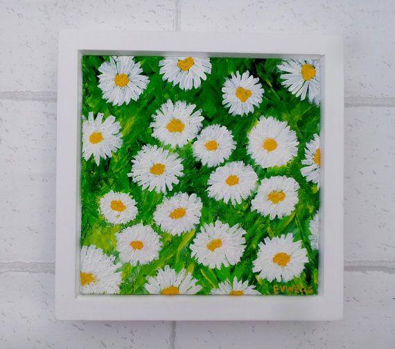 Daisy flowers painting framed art daisies art by LizzieLouArt