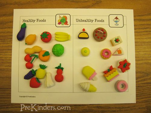 Healthy & Unhealthy Food Classification printable {using Target $ Spot manipulatives}
