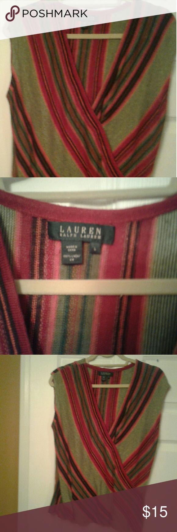 NWOT  Ralph Lauren  Sleeveless Sweater Multi color Ralph Laurn sweater. Very versatile.  Never worn Ralph Lauren  Sweaters