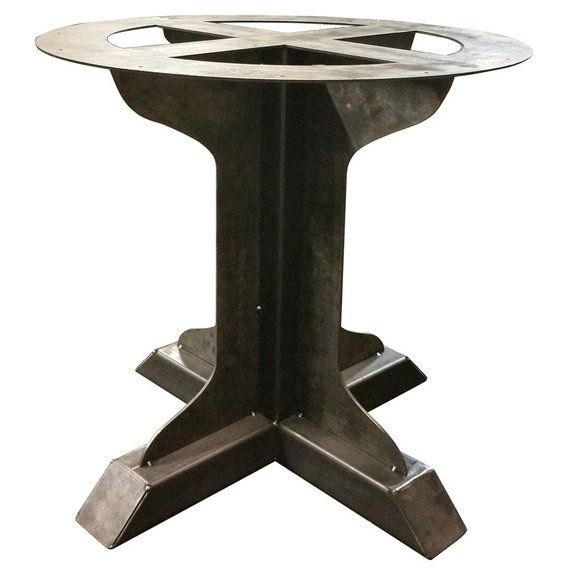 Bar Height 40 Tall Metal Pedestal Fin Support Table Etsy Square Tables Metal Decor Counter Height