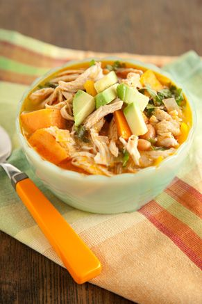 Paula Deen Chicken Chili Stew  This is so good! I omitted the canola oil and used some olive oil spray and upped the sweet potatoes to 2.  WW points are 8 for a fourth of this recipe plus 3 if you garnish with 1/4 avocado and 2 Tbls light sour cream. HUGE portion!!!!