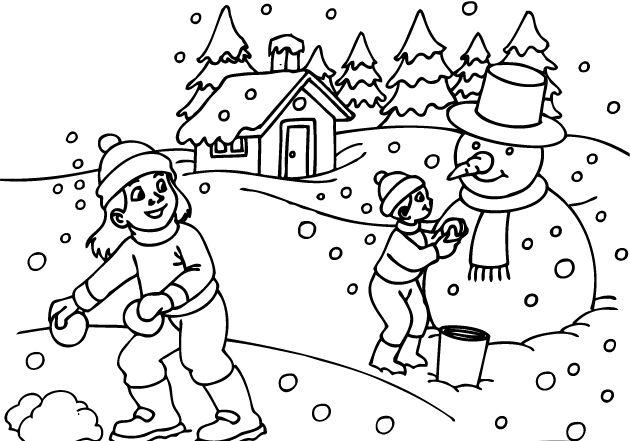 universul copiilor: Desene de colorat cu copii care se joaca iarna