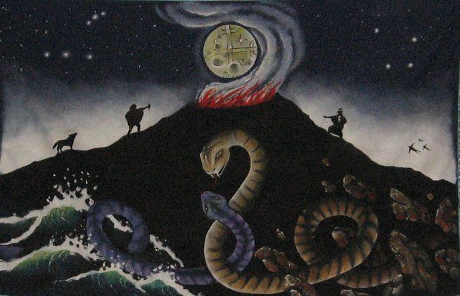 CaiCaiVsTenTen. La cosmogonía mapuche ubica su propio origen después de un gran diluvio provocado por la gran serpiente de los mares, Kai Kai Vilu; la otra gran serpiente, la de la tierra, Ten Ten Vilu(o Tren Tren)