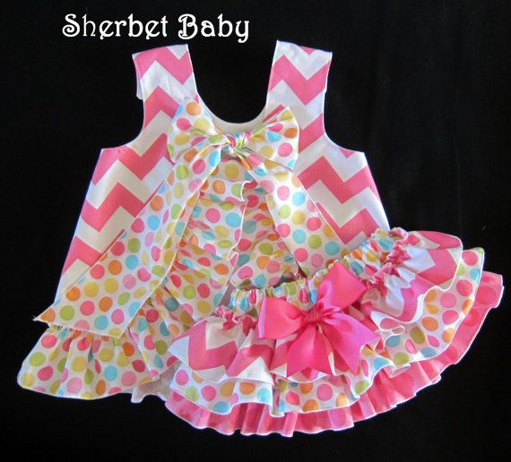 Hot Pink Chevron with Ditty Dots Ruffled Pinafore by SherbetBaby, $68.00