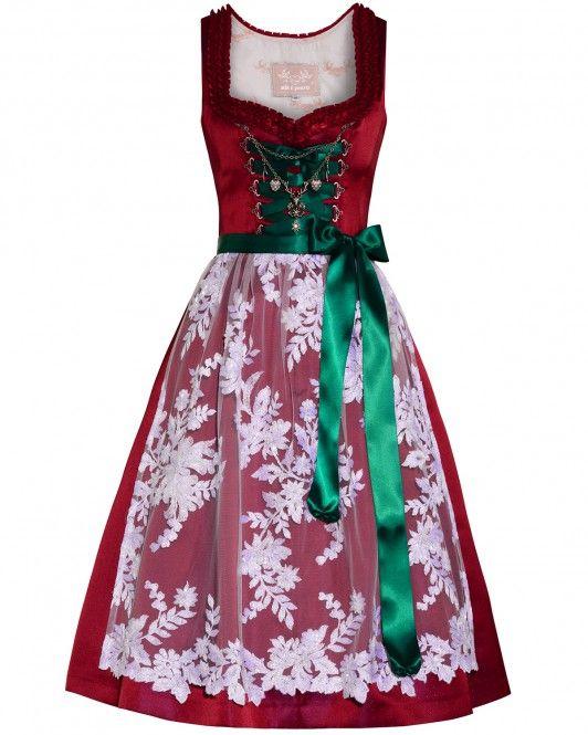 LODENFREY | Silk & Pearls Dirndl kurz mit Spitzen-Schürze 999,00 € www.lodenfrey.com