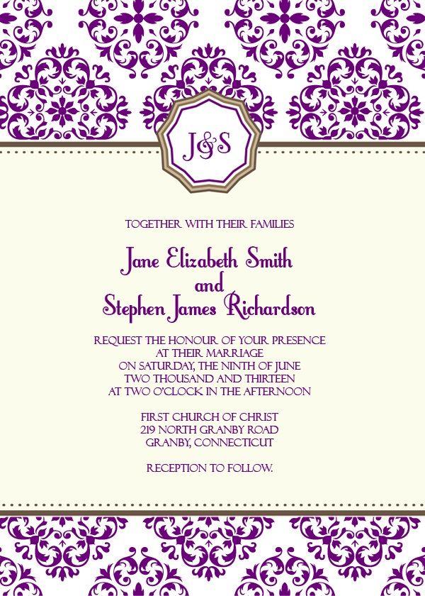 Free Download European Pattern Monogram Wedding Invitation  http://www.freetemplateideas.com/67-lovely-free-printable-wedding-invitations/