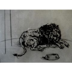 "WILLIAM KENTRIDGE ""UNTITLED LION "" DRYPOINT ETCHING / FRAMED for R40,000.00"