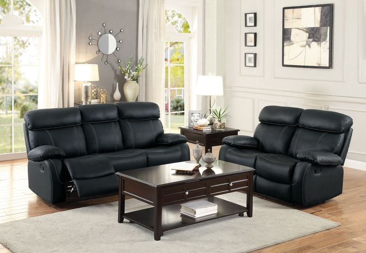 Home Elegance Pendu Collection Double Reclining Love Seat 8326BLK-2