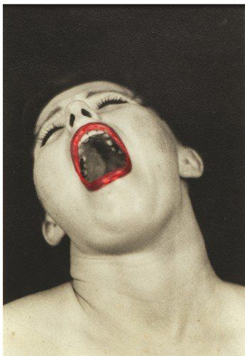 One photo from a series of eight that Sherman shot in 1975, showing a woman—herself, as always—miming orgasm. In the seventh photo, she shows herself smoking and in the last she's put on her hat to leave.