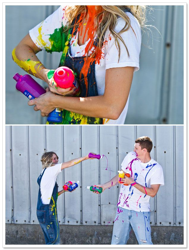 OMG! this would be FUN! I wanna do a photoshoot like this!!! {Paint War Engagement Session by Yvonne Denault Photography on BorrowedandBleu.com}