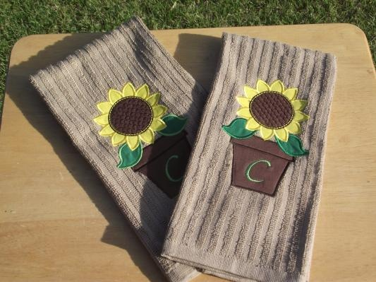 Appliqued Sunflower Kitchen Towels