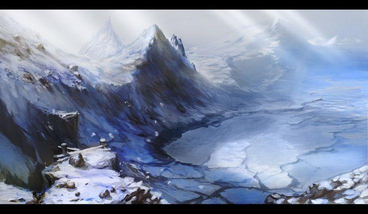 The Frozen Mountain PathsMountain Paths, Environment Concept, Alexdrummo Deviantart Com, Frozen Mountain, Concept Development, Concept Artists, Environment Designmattepaint, Artists Alex