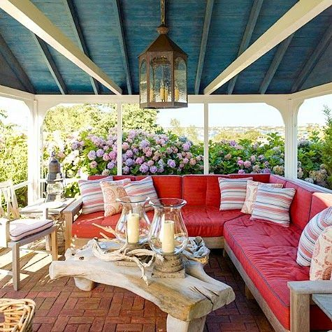 Top Coastal Summer Porches! Sea them all here: http://www.completely-coastal.com/2015/06/coastal-home-tour-turquoise-shutters-starfish.html
