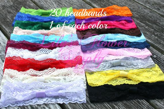 Limited Time DEAL Lace Headbands - Set of 20 One of Each Color - Interchangeable headbands - Baby headbands - Wholesale Headbands on Etsy, $15.00