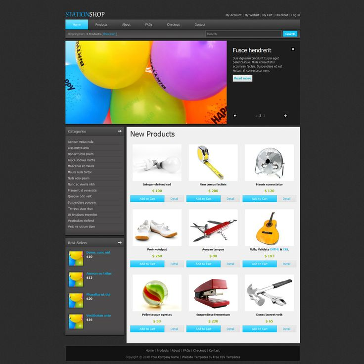 Station Shop is an ecommerce template in HTML-CSS that can be adapted and used for any kind of online store CMS. Product Detail, Shopping Cart and Checkout pages are also included.