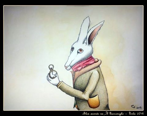 """""""Alice secondo me: il Bianconiglio"""" Pastelli e acquerelli su carta di Evita Cantoni"""