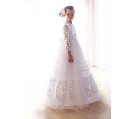 Communion dress in white with-communion dress-lace communion bolero-Flower Girl Dress-tulle skirt-lace communion dress-confirmation