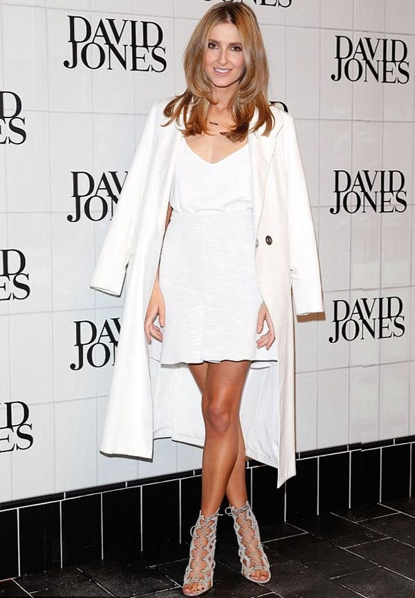 Stunning Kate Waterhouse wearing our White Fabric Mache skirt & Top Brass Coat