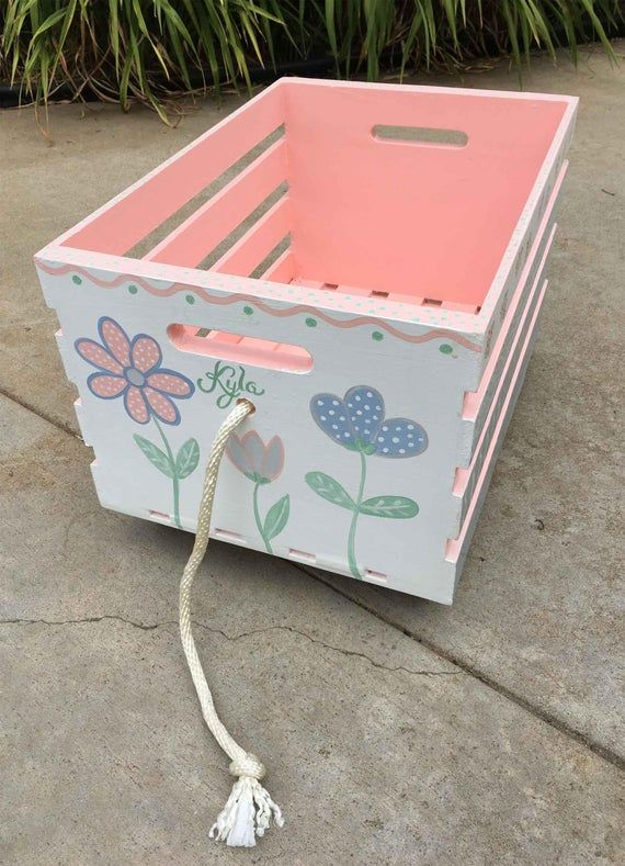 Crate Toy Box Hand Painted Crate Toy Storage Pull Toy Box Etsy Painted Toy Boxes Toy Storage Boxes Toy Boxes