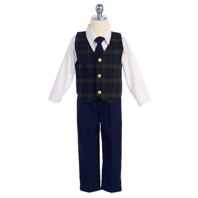 LITO LITO Boys Holiday Dresswear Set with Green Plaid Vest & Navy Pants 2T-7
