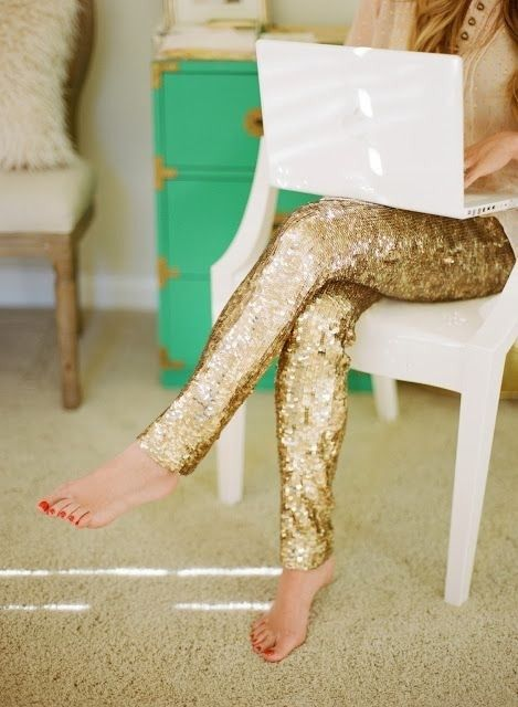 Sequin leggings! Want some to lounge in at home of course!