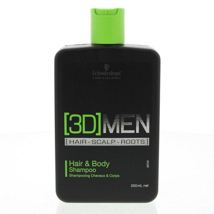 Schwarzkopf 3D Men Hair&Body Shampoo Alle Haartypen  Description: 3D Men Hair&Body Shampoo.100% afgestemd op mannen Werkt op het haar de hoofdhuid en de haarwortels. Panthenol hydrateert het haar. Verrijkt met Menthol voor een verfrissende sensatie. Cafeïne stimuleert de haarwortels.Gebruik: Op nat haar aanbrengen en uitspoelen.  Price: 9.25  Meer informatie