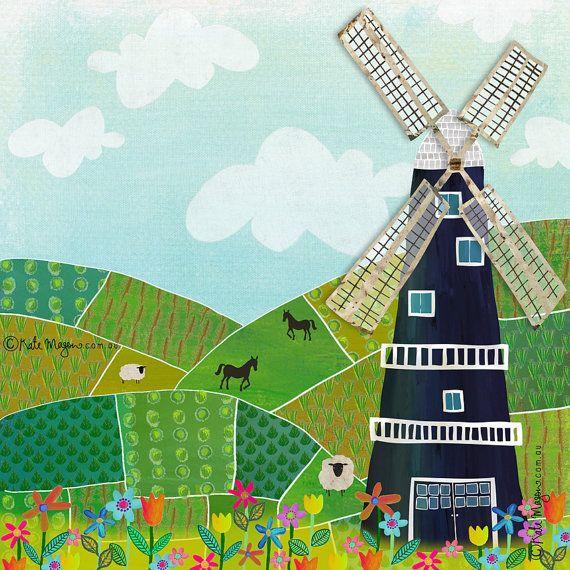Rural Windmill ART PRINT by MessyMissKate on Etsy