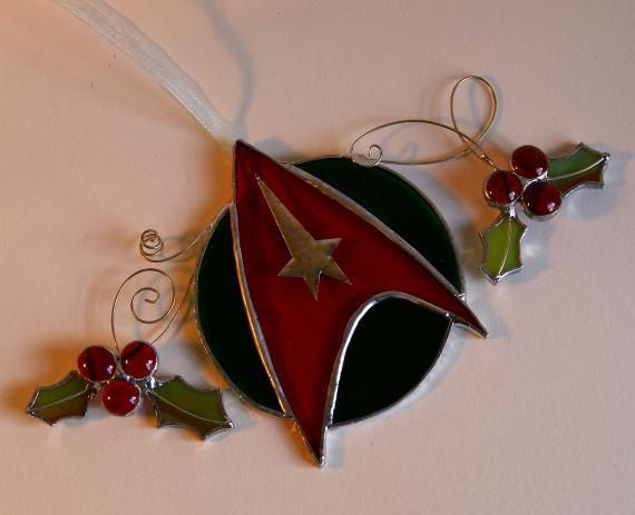 Star Trek ornament geekery Christmas tree ornament  decoration trekkie holiday decor red and green glass stained glass. $25.00, via Etsy.