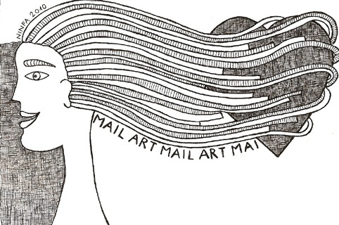 MAIL ART 2010 cuore tra i capelli