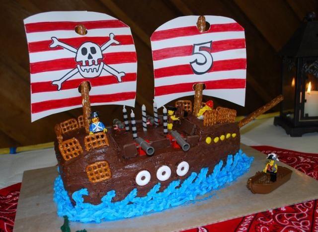 boys birthday cakes images   Double mast pirate ship birthday cake with Lego.JPG